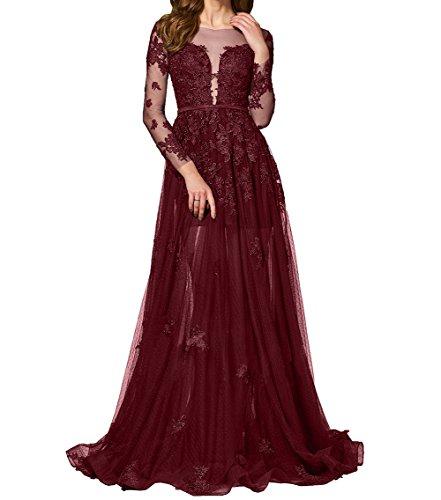 Etuikleider Ballkleider Spitze Promkleider Langes Charmant Burgundy Abendkleider Partykleider Damen Durchsichtig nwROO8P