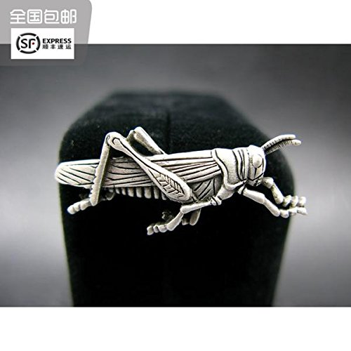 (TKHNE Turn box Cat produced quality antique silver tin grasshopper tie pin brooch pin badge 015)