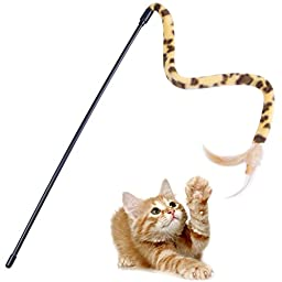 Cat Stick, PETBABA Interactive Funny Flying Feather Cat Toy Teaser Wand Fun Exerciser for Cat Leopard