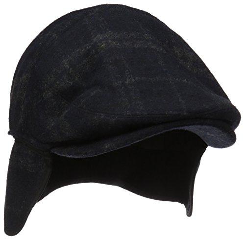 (Henschel Men's Wool Blend Plaid Ivy Hat with Earflaps, Black, Large)