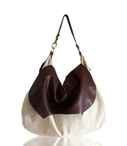 A Viaggio Handmade Bag Grande Weekend Borsa Tessuto Fashion Patta Borse Spalla E Lino Misto In Pelle Da Cotone Con Donna Pelle aHggxfX