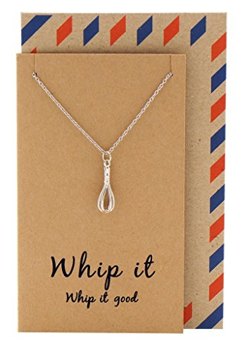 or Mom Handcrafted Whisk Necklace on Inspirational Quote Card, Bakers Chef Jewelry, 16 to 18 inches ()