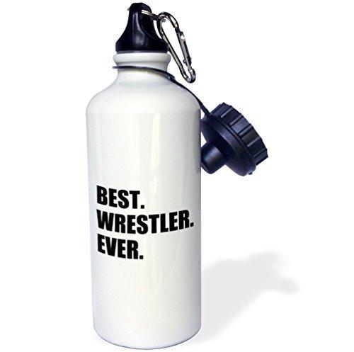 Moson Water Bottle Gift, Best Wrestler Ever Fun Wrestling Sport Gift Black And White White Stainless Steel Water Bottle for Women Men 21oz by Moson
