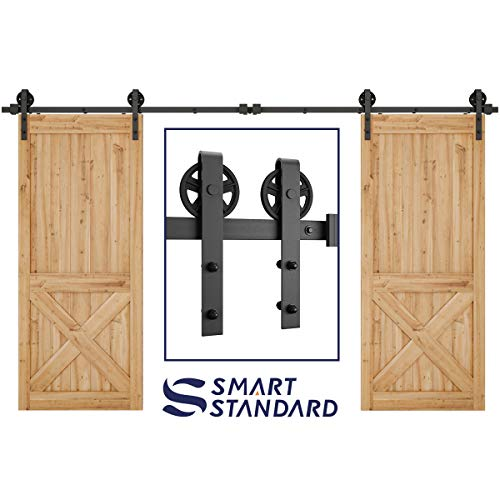 (SMARTSTANDARD 12ft Heavy Duty Double Door Sliding Barn Door Hardware Kit -Smoothly and Quietly -Easy to install -Includes Step-By-Step Installation Instruction Fit 36