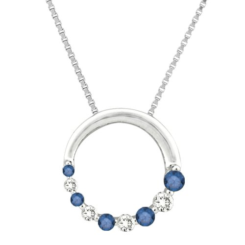 "14K White Gold 1/4 ct. Alternating Blue and White Diamond ""Journey of Love"" Circle Pendant with Chain"