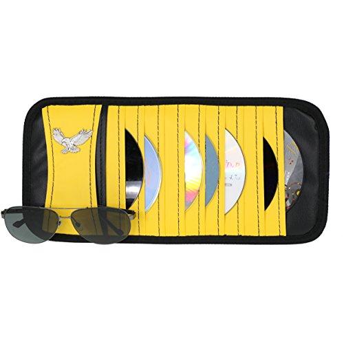 Vulcan-x CD DVD Sun Visor Organizer Holder Car Detachable PU Auto Multi-Purpose Bag for Sunglasses Eagle Badge vehicle-mounted 10 CD DVD - Big Too Sunglasses