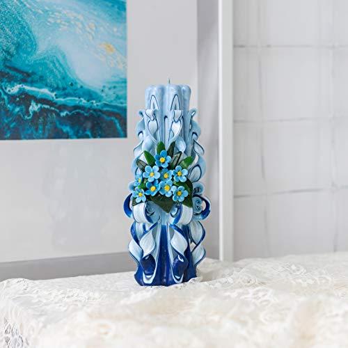 Velas azules con nomeolvides azules - grandes velas talladas ...