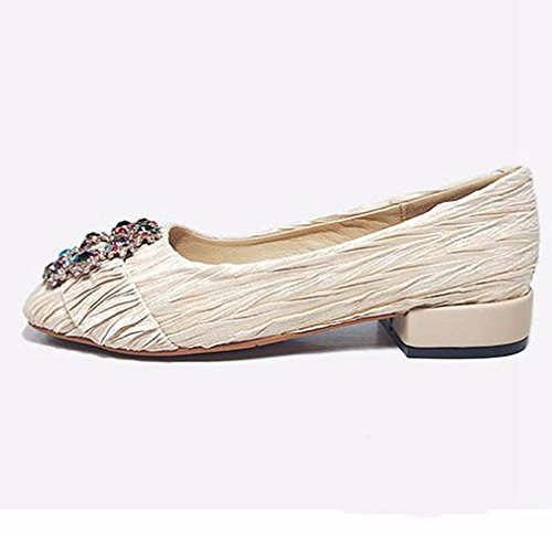 Dames Klassiek Loafers Pumps Ballet Vierkante Teen Instaplijst Strass Casual Penny Jurk Loafer Schoenen Beige