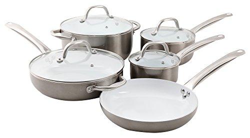 Oster Montecielo 9pc Aluminum Cookware Set, Metallic Titanium (Oster Cookware Set compare prices)