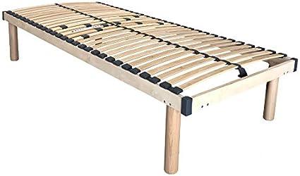 Somier de madera maciza de haya con reguladores de rigidez zona lumbar, altura 38 cm, patas de madera maciza incluidas (80 x 200 cm)