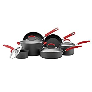 Rachael Ray Brights Hard-Anodized Nonstick Cookware Set with Glass Lids, 10-Piece Pot and Pan Set, Gray with Red Handles 11