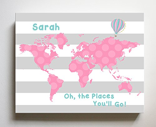 Girl Canvas Wall Art Personalized (Dr Seuss, Personalized Canvas Nursery Striped World Map, Customized Baby Name Wall Art Decor, Unique Educational Painting, Memorable Boys & Girls Gift, Giclee Print Stretched on 100% Wood Frame 16X20)