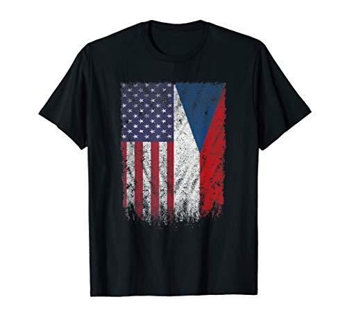 - American Grown Czech Roots Czech American Flag Shirt