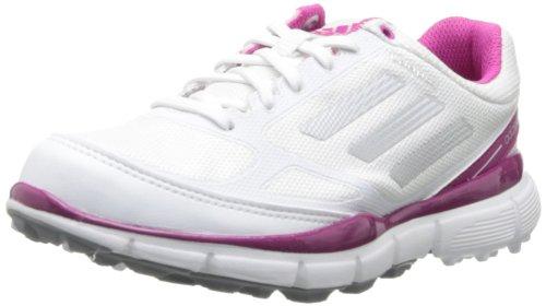 adidas Women's Adizero Sport II Golf Shoe,Running White/Metallic Silver/Bahia Magenta,9.5 M US