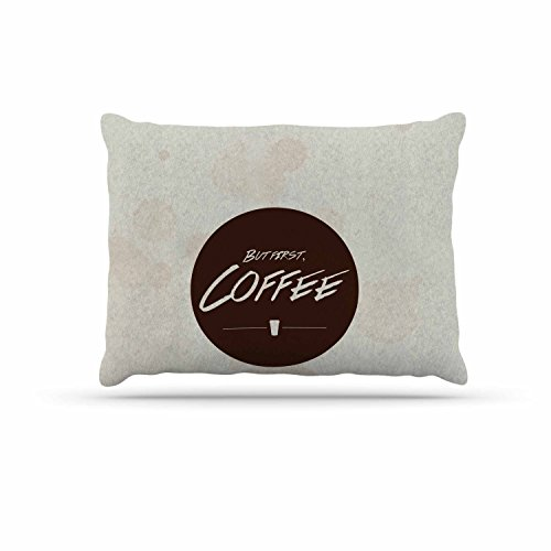 KESS InHouse Juan Paolo ''but First, coffee'' Beige Brown Dog Bed, 30'' x 40'' by Kess InHouse