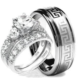 wedding ring set his hers 3 pieces hearts 925 sterling silver tungsten - Sterling Silver Diamond Wedding Ring Sets
