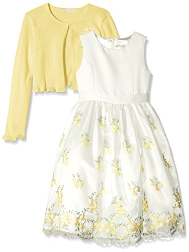 American Princess Big Girls' Embroidered Sweater Dress with Cardigan, Yellow, 12