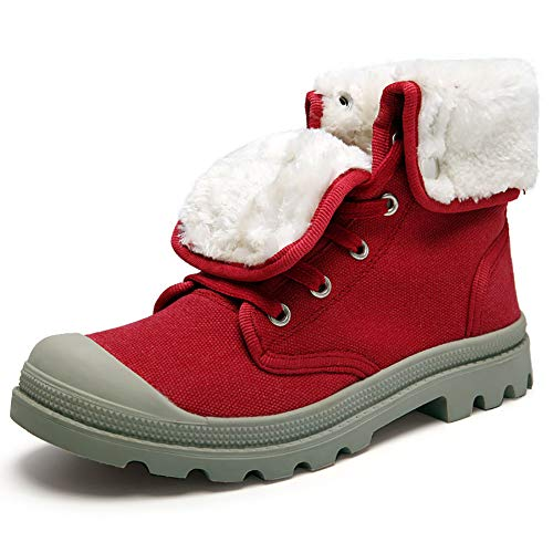 Abiti Abiti Red Caldo Casual Casual Pieghevoli Rosso Neve Neve Neve Di Donna Più Due Scarpe Invernali Da Velluto Scarponi Da Alti Tela wRqCxUF0w