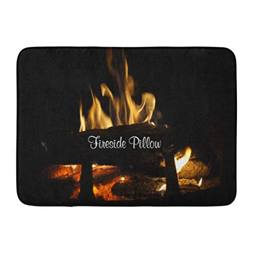 Allenava Bath Mat Ladies Winter Fireside Decorator Scenic Fireplace Family Bathroom Decor Rug 16'' x 24'' by Allenava