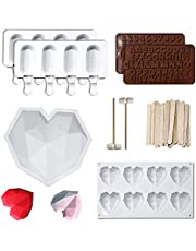Breakable Diamond Heart Love Silicone Cake Mold,Letter Number Mold,Silicone Moulds,Candy Soap Jelly Pop Baking Tools,Polymer Clay Molds,Edible Fondant Rose/Daisy Flowers/Butterfly/Leaves Molds for Cake Decorating,Liquid Droppers,Basting Brush,Wooden Hammers