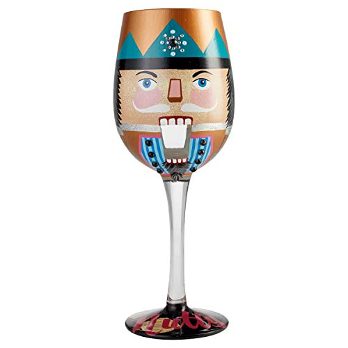Lolita Halloween Wine Glasses (Enesco 6004436 Designs by Lolita Let's Be Nutty Hand-Painted Artisan Wine Glass, 15 Ounce,)