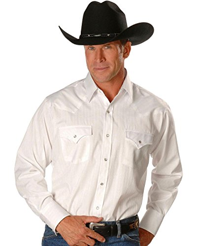 ELY CATTLEMAN Men's Dobby Solid Western Dress Shirt White Medium