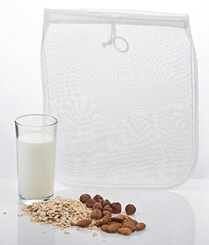 Nussmilchbeutel für vegane Nussmilch Herstellung / Passiertuch / Durchseih Beutel zum auspressen von Obst und Gemüse / vielseitige Anwendungsmöglichkeiten siehe Beschreibung / 100% Nylon / inkl. Rezept für Mandelmilch
