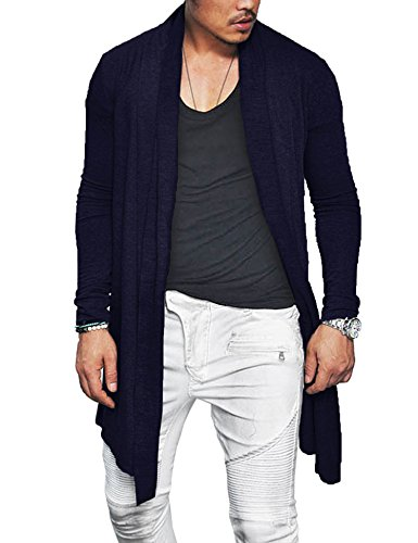COOFANDY Men's Ruffle Shawl Collar Long Sleeves Cardigan (Medium, Navy Blue) Cashmere Summer Cardigan