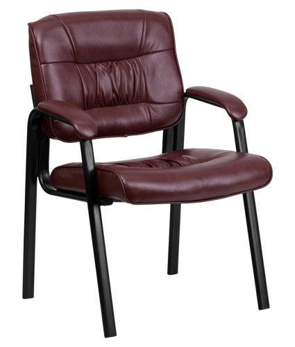 Offex OF-BT-1404-BURG-GG Burgundy Leather Guest Reception Chair with Black Frame Finish