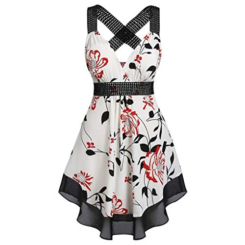 Sunhusing Ladies Sexy Sleeveless Hollow Sling Ruffled Small Floral Printed Waist-Tie Flowy Hem Tank Tops White