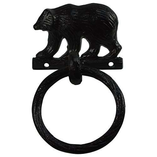 PKD Black Metal Wall Mount Bear Kitchen/Bath Towel Ring Hanger Holder Rustic Decor