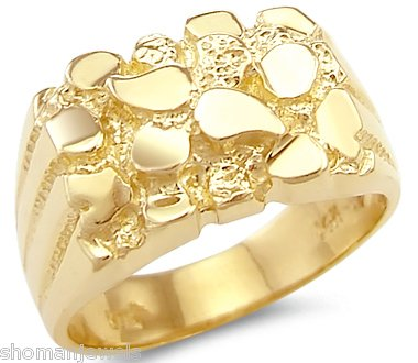 Size T Solid 14ct Yellow Gold Huge Heavy Mens Nug Ring Band