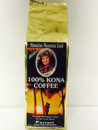 100% Kona Coffee, Medium Roast, Ground, 1 lb.