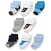 Luvable Friends Baby 8 Pack Newborn Socks, Blue Shoes, 6-12 Months