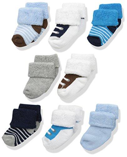 luvable friends Unisex 8unidades recién nacido calcetines, Azul Zapatos, 0-6 Meses