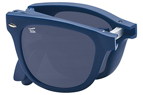 Foldies Matte Navy Folding Sunglasses with Polarized Black ()