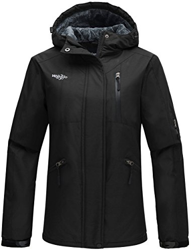 Wantdo Women's Hooded Windproof Ski Jacket Fleece Winter Coat Black US (Snowmobile Fleece)