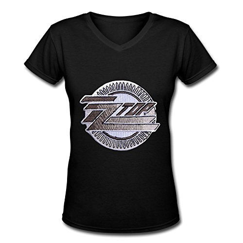 ZZ Top 2016 Tour Fan Logo V Neck T Shirt For Women Black