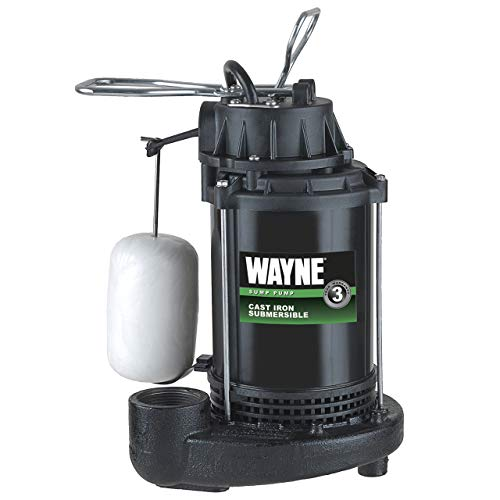 WAYNE CDU790 1/3 HP Submersible Cast Iron and Steel Sump Pump With Integrated Vertical Float Switch (Renewed) ()