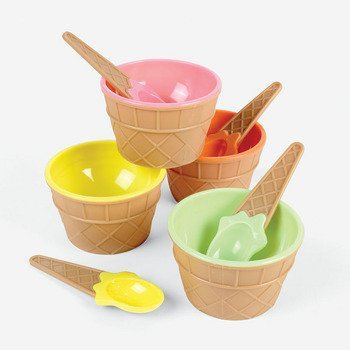 Plastic Ice Cream Dishes, 4 count (Ice Cone Cream Dishes)