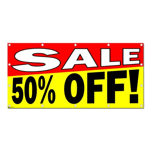"""New Graphics and More Sale 50% Percent Off - Store Retail Business Sign Banner - 96"""" (width) X 46"""" (height) hot sale"""