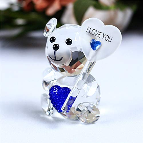 ZAMTAC Crystal Animal Cute Teddy Bear Figurines Miniatures Glass Craft Glass Ornaments for Gifts Home Decoration Accessories - (Color: Blue Holding Plate)