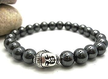 ON SALE - Genuine Buddha Bracelet Hematite - Men or Women + Gift Worry Stone lA9Ra