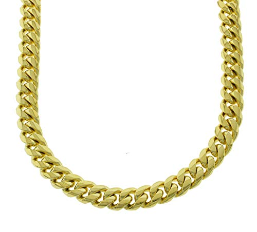 - Solid 14k Yellow Gold Finish Stainless Steel 14mm Thick Miami Cuban Link Chain Box Clasp Lock (Chain 24'')