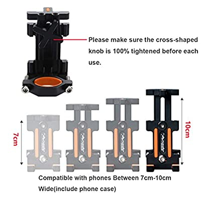 Maxitino Bike Phone Mount, Aluminum Bicycle Motorcycle Cell Phone Holder 360° Rotation Bike Handlebar Phone Cradle, Compatible with Smartphones Between 7cm-9.5cm Wide (Silver)