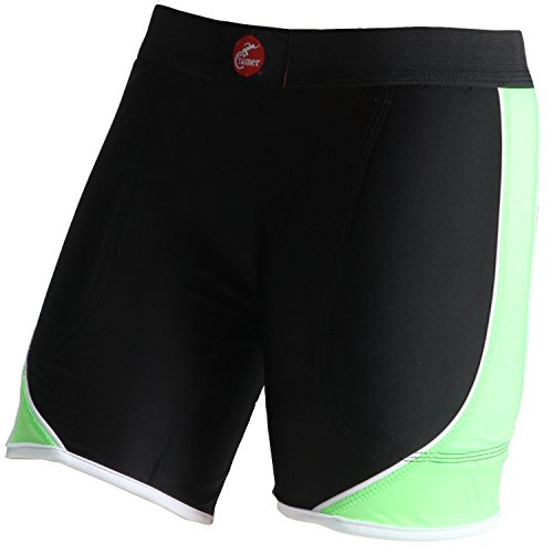 Womens Low Rise Compression Short (Cramer Women's Crossover Softball Compression Sliding Shorts with Foam Padding, Low-Rise 5 Inch Inseam, Support Prevents Chaffing and Injury During Activity, Black/Lime, Small)