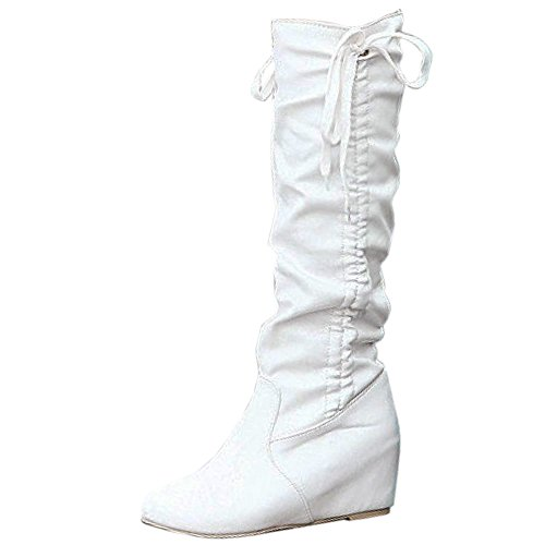 COOLCEPT Mujer Moda Tacon De Cuna Slouch Botas Rodilla White