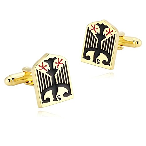 Epinki Mens Stainless Steel Gold Black Germany Emblem Eagle Shield Shirt Cufflinks for Wedding Business