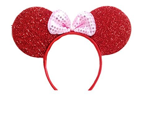 Pink Bouquet Cross (MeeTHan Mickey Mouse Minnie Mouse Ears Headband Sparking Red Pink: M1 (Red2))