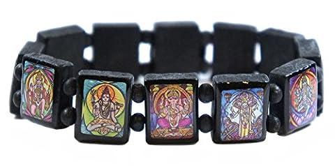 Hindu Gods & Goddesses Manifestation Prayer Black Wood Stretch Bracelet - God Prayer Card